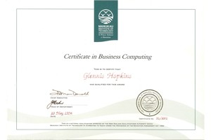 Glennis' Certificate in Business Computing
