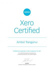 Amber's Xero Certificate